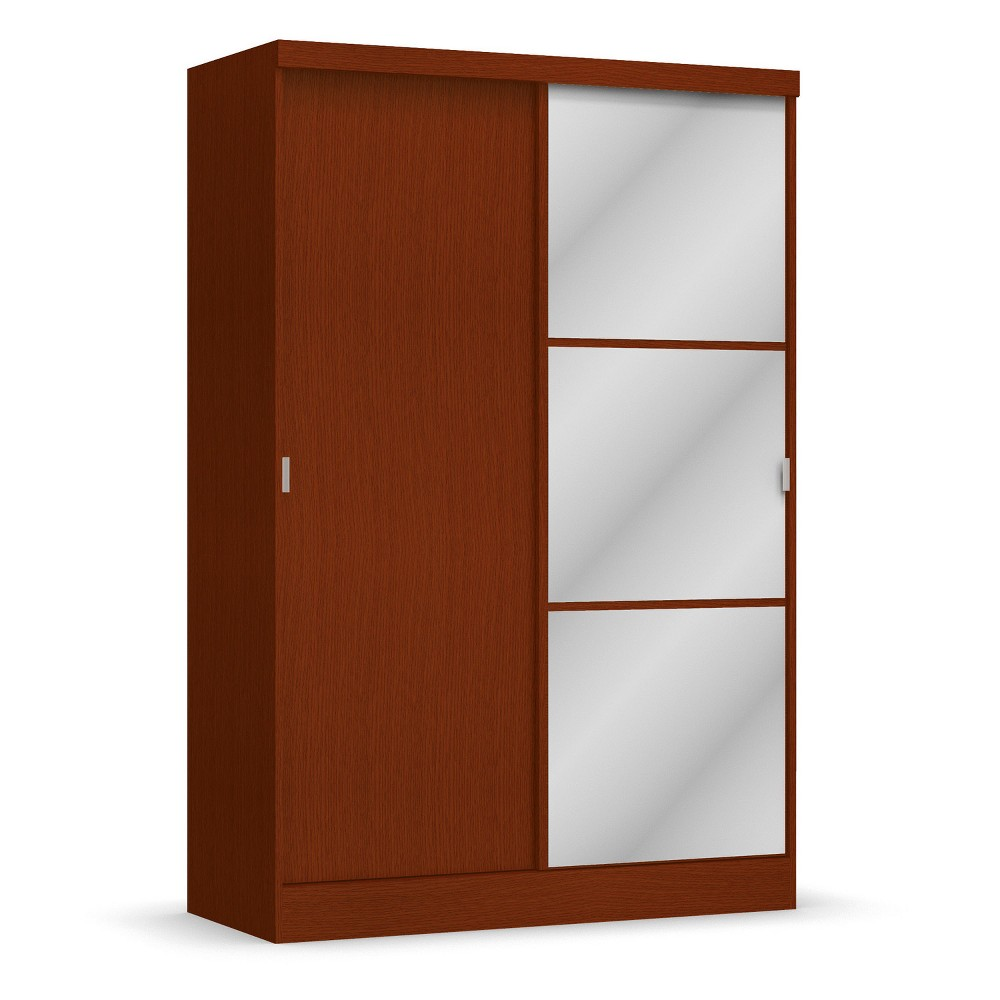 Wardrobe With Sliding Doors Wood Mahogany (Brown) - Home Source Industries