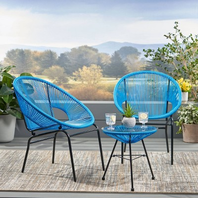 Nusa 3pc Faux Rattan Chat Set Blue - Christopher Knight Home