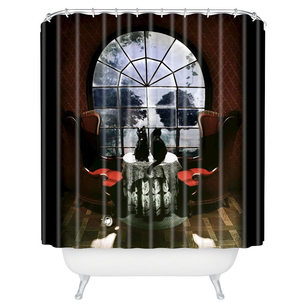 Image of Ali Gulec Room Skull Shower Curtain Red - Deny Designs