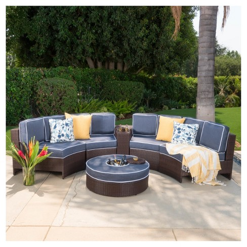 Awesome Madras Zanzibar 6Pc Wicker 1 2 Round Seating Set With Ice Bucket Ottoman Christopher Knight Home Pabps2019 Chair Design Images Pabps2019Com