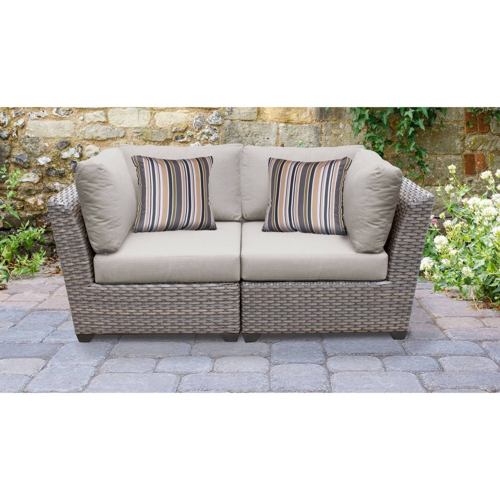 Florence 2pc Outdoor Sectional Loveseat With Cushions Ash Tk Classics