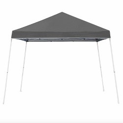 Z-Shade 10 x 10 Foot Angled Leg Taffeta Peak Style Canopy with Carry Bag, Gray