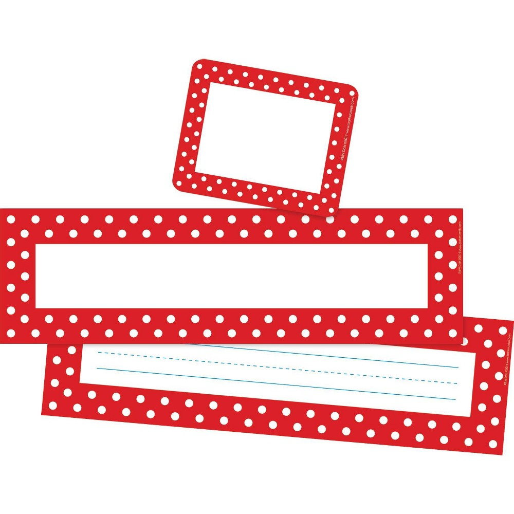 Barker Creek 81pc Red And White Dot Nametag And Name Plate Set