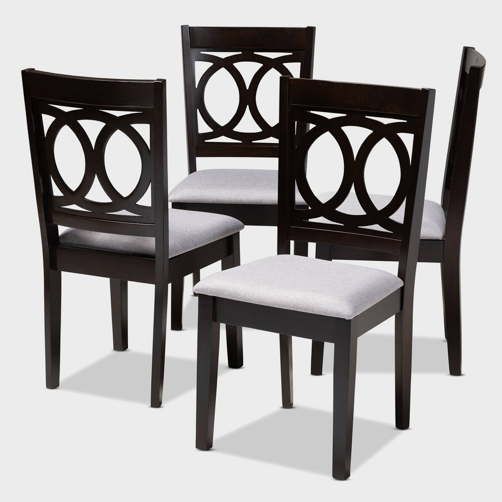 Set of 4 Lenoir Finished Wood Dining Chairs Gray - Baxton Studio