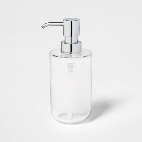 Round Bottom Soap/Lotion Pump Silver/Clear - Room Essentials™ - image 1 of 1
