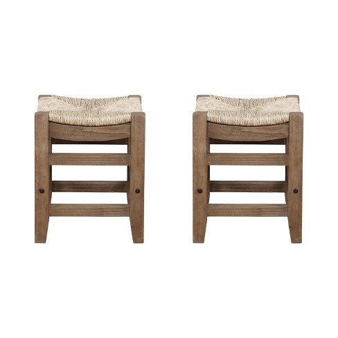 """Set of 2 18"""" Davenport Wood Stools with Rush Seats Light Amber - Alaterre Furniture - image 1 of 4"""
