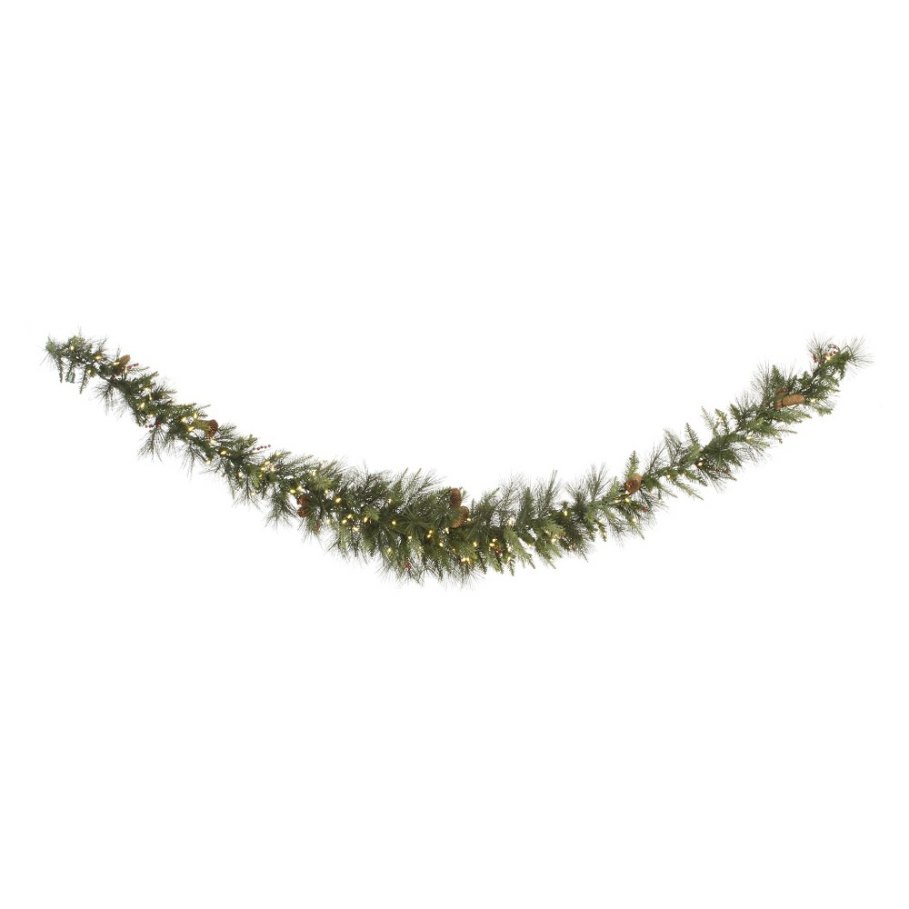 9' Vallejo Mixed Swag Garland - Warm White Led Lights