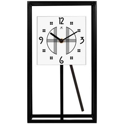 Infinity Instruments 20090BK-933 7.25 x 13 Inch Decorative Modern/Minimalist Pendulum Tabletop Clock, Black