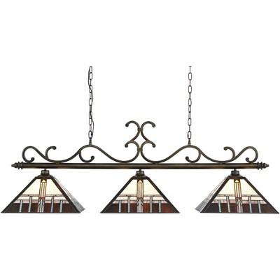 "Robert Louis Tiffany Bronze Linear Island Pendant Chandelier 56"" Wide Tiffany Style Alfred Art Glass 3-Light Fixture for Kitchen"