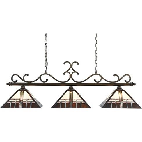 Robert Louis Tiffany Bronze Linear Island Pendant Chandelier 56 Wide Tiffany Style Alfred Art Glass 3 Light Fixture For Kitchen Target