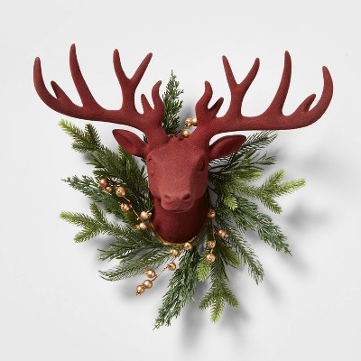 Wall Mounted Deer Head with Faux Botanicals Decorative Wall Sculpture Red - Wondershop™