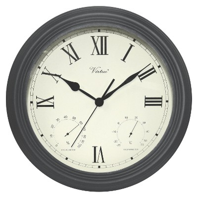Weather Center 12  Round Wall Clock Off-White/Black - Poolmaster®