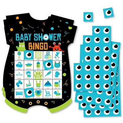 Big Dot of Happiness Monster Bash - Picture Bingo Cards and Markers - Little Monster Baby Shower Shaped Bingo Game - Set of 18