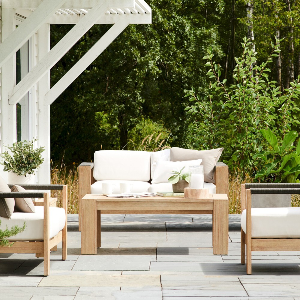 Montpelier 4pc Wood Patio Conversation Set - Natural - Smith & Hawken