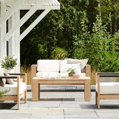 Montpelier 4pc Wood Patio Conversation Set   Natural   Smith U0026 Hawken™ :  Target