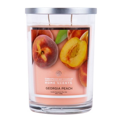 19oz Lidded Glass Jar 2-Wick Candle Georgia Peach - Home Scents By Chesapeake Bay Candle