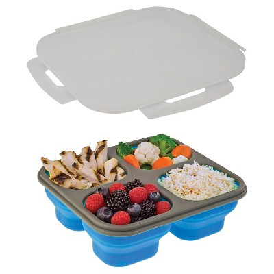 SmartPlanet Portion Perfect 4 Compartment Collapsible Blue Lunch Lite Kit