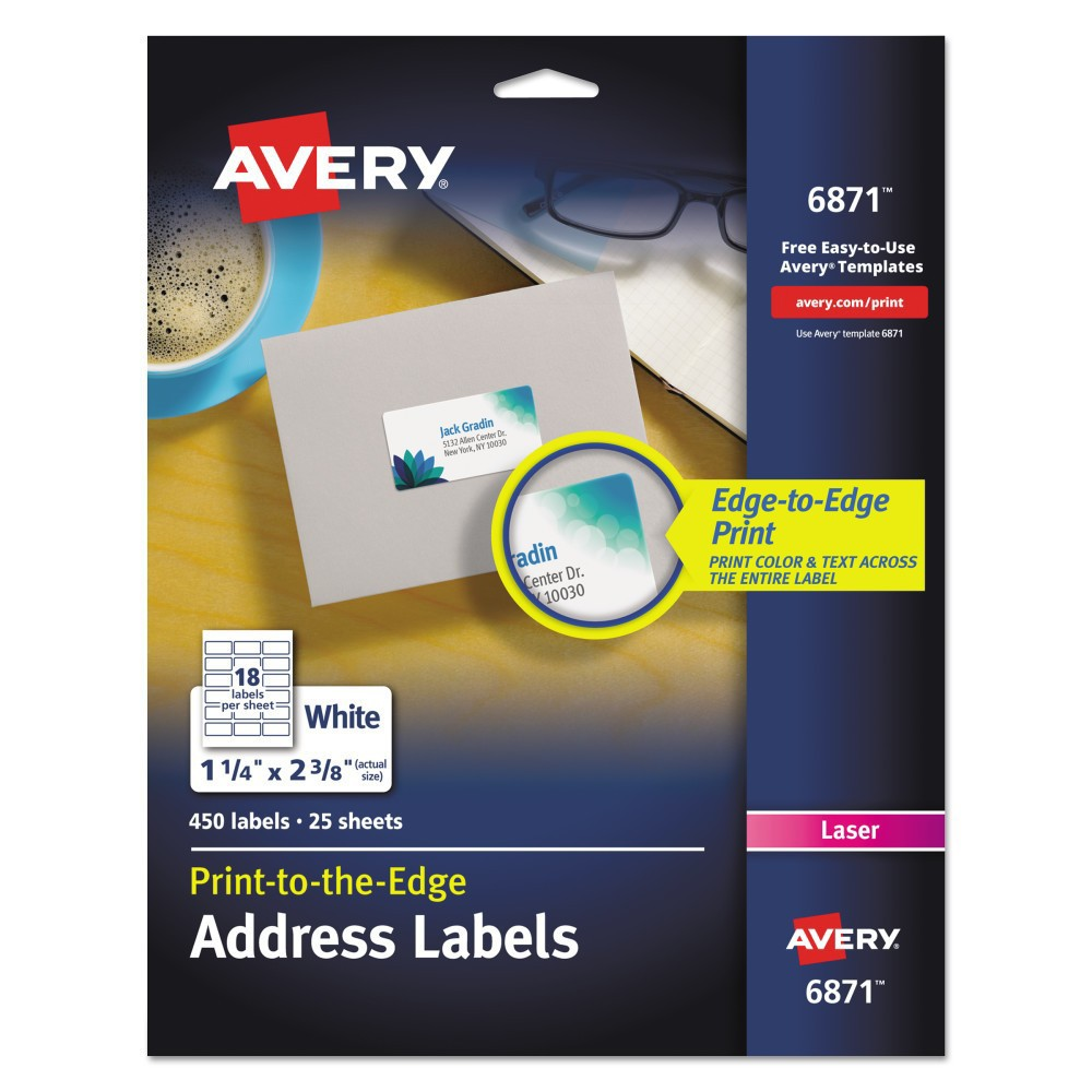 Avery 06871, Color Printing Mailing Labels, 1 1/4 x 2 3/8, White, 450/Pack Every label makes a statement about your company, and these Print-to-the-Edge labels speak volumes. Vivid color and sharp text extend all the way to the edge and make a positive impression on customers. Want to add names, addresses and logos? Just fill in a free template from Avery Design and Print. After you print, you'll have labels that communicate a professional image. For Laser Printers and Copiers. Label Size - text: 1 1/4 x 2 3/8; Label Color(s): White; Machine Compatibility: Color Copiers; Color Laser Printers; Sheet (W x L): 8 1/2 x 11. Age Group: Adult.