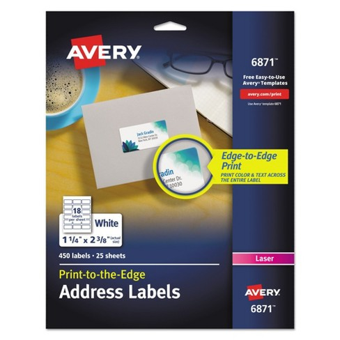 Avery® 06871, Color Printing Mailing Labels, 1 1/4 x 2 3/8, White, 450/Pack - image 1 of 3
