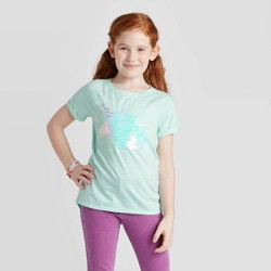 Girls' Short Sleeve Flip Sequin Unicorn T-Shirt - Cat & Jack™ Aqua