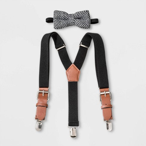 Boys' Bow Tie and Suspender Set Ties - Cat & Jack™ Black/Gray - image 1 of 1