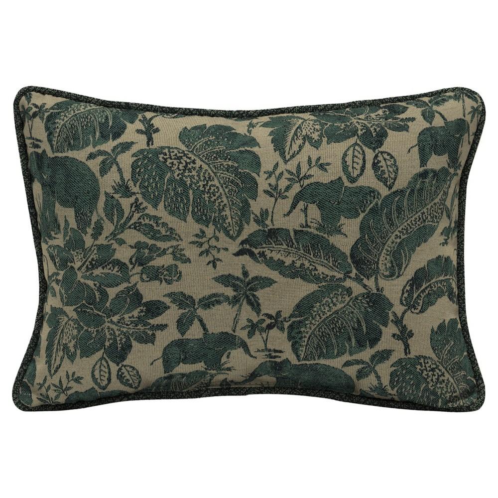 Casablanca Elephant 2pc Outdoor Oversize Lumbar Pillow Set w/ Welt - Green/Tan - Bombay Outdoors
