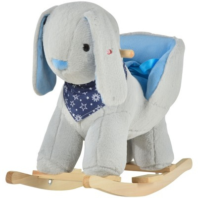 Qaba Kids Ride-On Rocking Horse Toy Bunny Rocker with Fun Play Music & Soft Plush Fabric for Children 18-36 Months