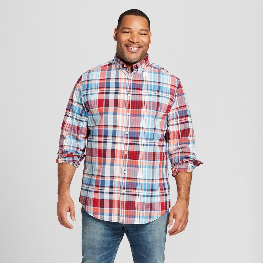 Men's Tall Standard Fit Long Sleeve Northrop Button-Down Shirt - Goodfellow & Co Ripe Red MT