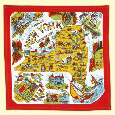 """Tabletop 22.0"""" New York State Kitchen Towel 100% Cotton Empire Retro Design Red And White Kitchen Company  -  Kitchen Towel"""