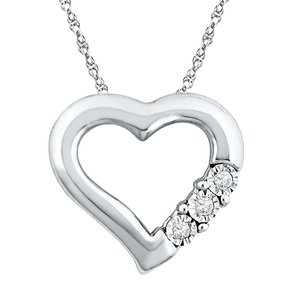 Image of 0.040 CT. T.W. Round White Diamond Miracle Set Heart Pendant in Sterling Silver (IJ-I2-I3), Women's, Size: Small