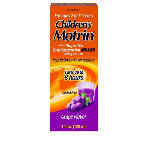 Children's Motrin Pain Reliever/Fever Reducer Liquid - Ibuprofen (NSAID) - Grape - 4 fl oz - image 1 of 4