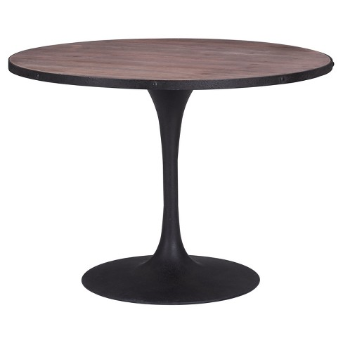 Rustic Antiqued Black Metal 42 5 Round Dining Table Distressed Natural Zm Home Target
