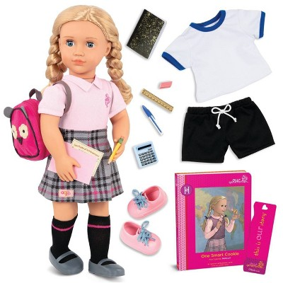 "Our Generation 18"" Posable School Doll with Storybook & Accessories - Hally"