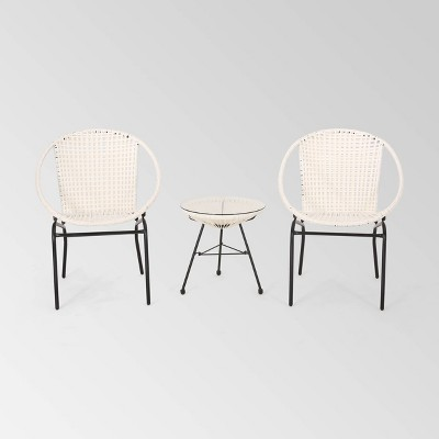 Java 3pc Faux Rattan Modern Chat Set - White - Christopher Knight Home