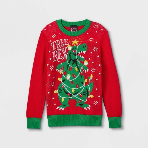 Kids' Tree Rex Pullover Sweater - Red - image 1 of 3