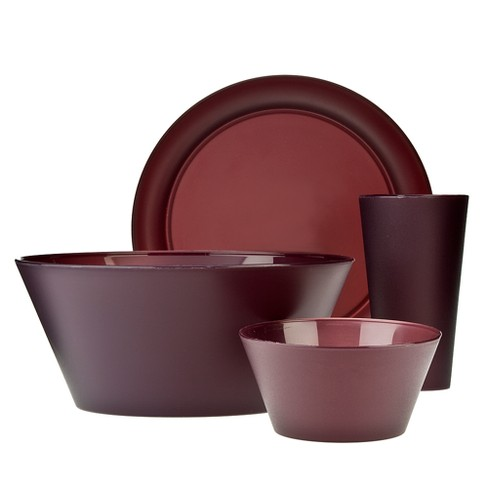 Creative Bath Polypropylene 13pc Dinnerware Set Burgundy - image 1 of 1