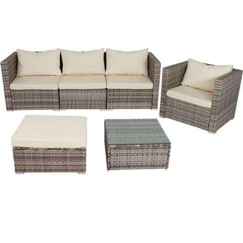 Boa Vista 6pc Rattan Sofa Patio Furniture Set With Cushions Beige Sunnydaze Decor