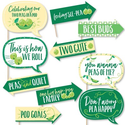 Big Dot of Happiness Funny Double the Fun - Twins Two Peas in a Pod - Baby Shower or First Birthday Party Photo Booth Props Kit - 10 Piece