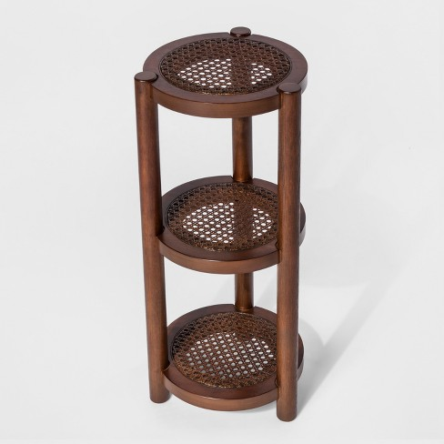 3 Tier Wood & Rattan Stand - Threshold™ - image 1 of 1