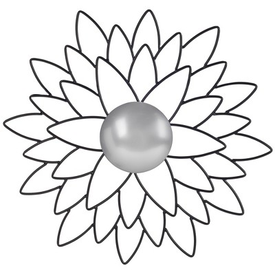 Round Chrysanthemum Decorative Wall Mirror Black - Safavieh