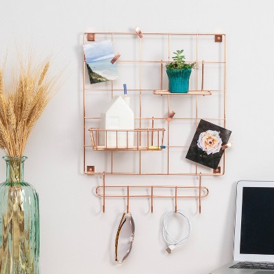 Honey-Can-Do 8pc Wall Grid Kit Rosy Copper