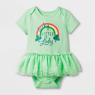 Baby Girls' Short Sleeve St. Patricks' Tutu Bodysuit - Cat & Jack™ Green 3-6M