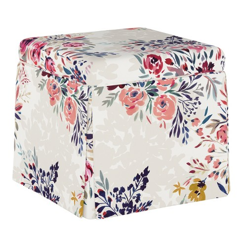 Surprising Carla Skirted Storage Ottoman Multi Floral Cloth Co Gmtry Best Dining Table And Chair Ideas Images Gmtryco