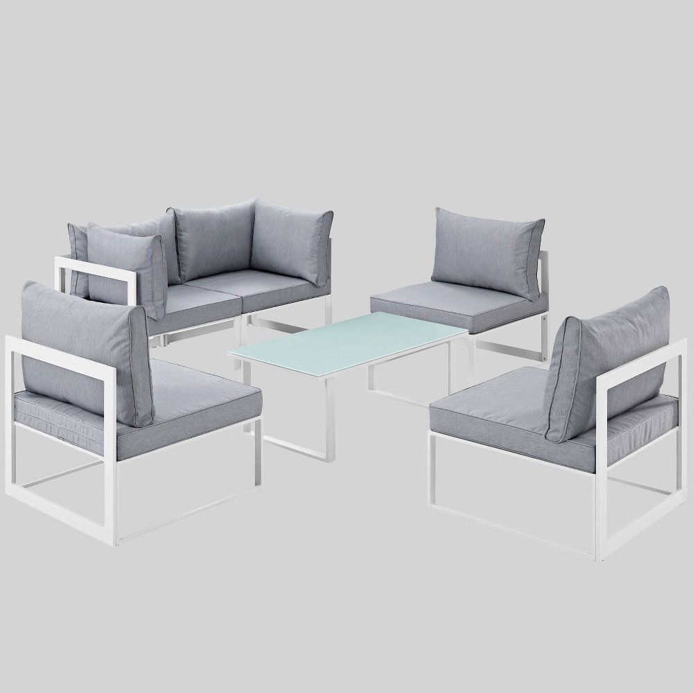 Fortuna 6pc Outdoor Patio Sectional Sofa Set - Gray - Modway