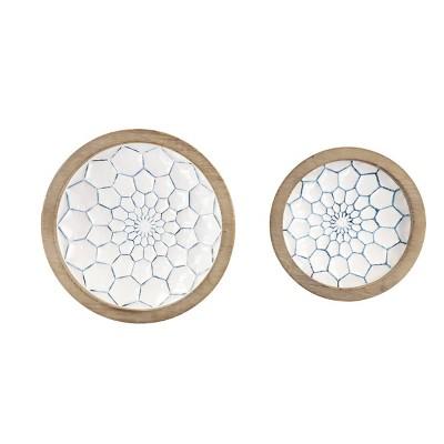 Set of 2 Decorative Wood/Metal Bowls Blue - Olivia & May