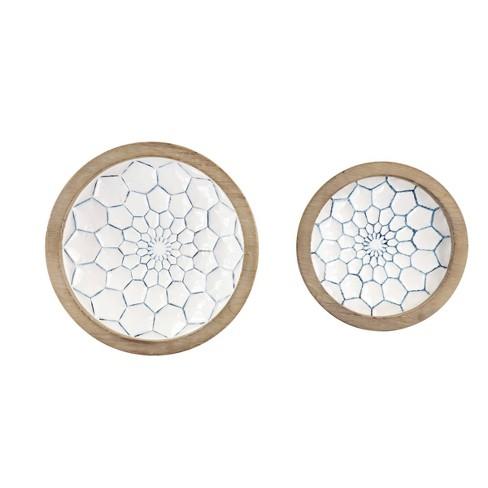 Set of 2 Decorative Wood/Metal Bowls Blue - Olivia & May - image 1 of 2