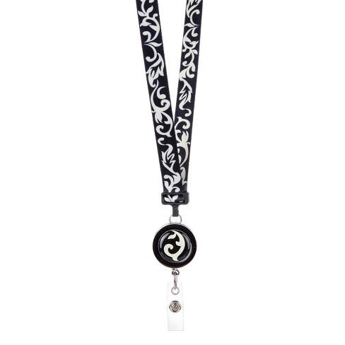 ID Avenue Ribbon Lanyard Black & Ivory - image 1 of 2