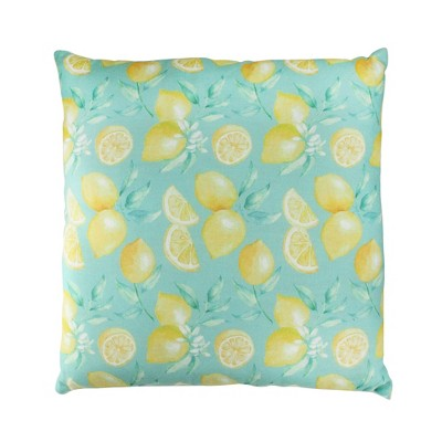 """Northlight 17"""" Square Tropical Lemons Indoor Throw Pillow - Green/Yellow"""