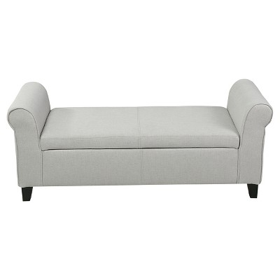 Hayes Armed Storage Ottoman Bench Light Gray - Christopher Knight Home