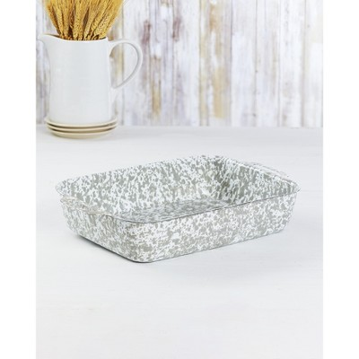 Lakeside Enamel Coated Metal Bakers Dish - Stylish Speckled Paint Scheme